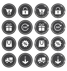 Shopping on internet retro badges - grunge style vector image