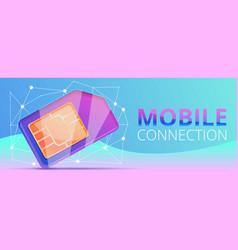 sim card mobile connection concept banner cartoon vector image