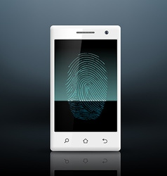 Smartphone with fingerprint on the screen vector image