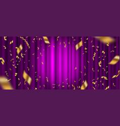 Spotlight on purple curtain and golden confetti vector