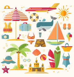 summer holiday tourism and vacation flat icons vector image