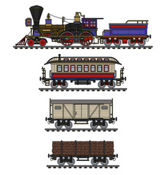 the vintage american steam train vector image