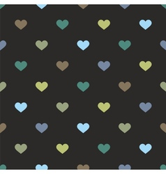 Tile pattern with hearts on black background vector
