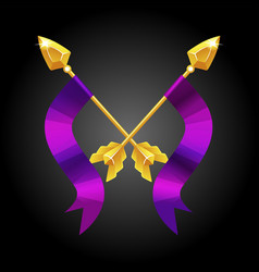 two spears crossed with a violet flag for game vector image