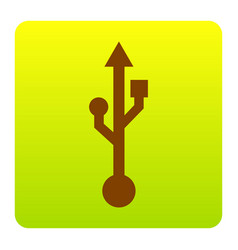 Usb sign brown icon at green vector