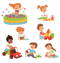 Various games and toys for preschool kids vector