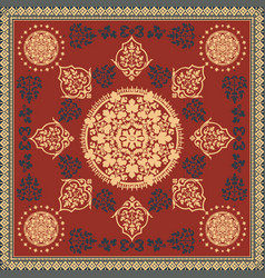 victorian floral paisley medallion ornamental rug vector image