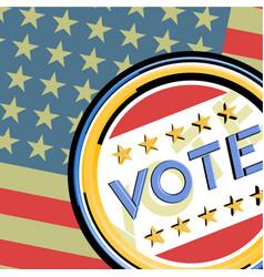 vote emblem and amercian flag vector image
