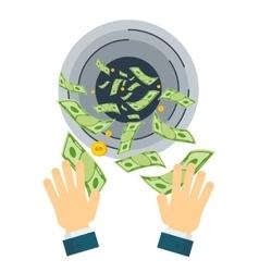 Waste money hand vector