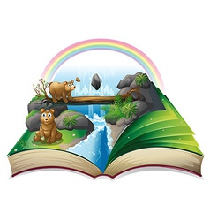 Waterfall book vector image