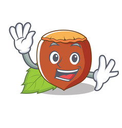 waving hazelnut character cartoon style vector image vector image