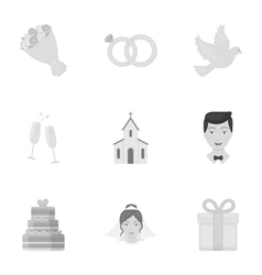 Weeding set icons in monochrome style Big vector image