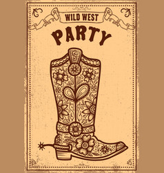 Wild west party poster template with cowboy boot vector