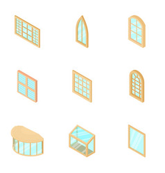 Window display icons set isometric style vector