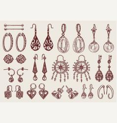 women jewelry earrings vintage handmade vector image
