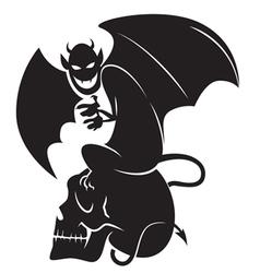 devil skull sihouette vector image vector image