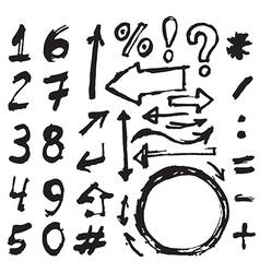 Hand drawn figures Elements symbols arrows set - vector image vector image