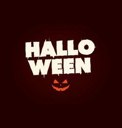 happy halloween text logo with pumpkin vector image vector image