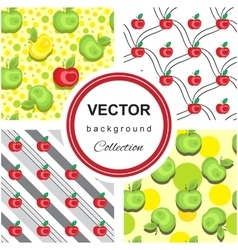 Seamless apple background pattern collection vector image vector image