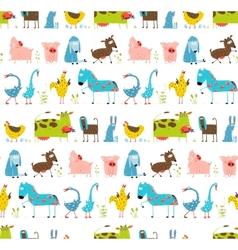Bright Fun Cartoon Farm Domestic Animals Seamless vector image vector image