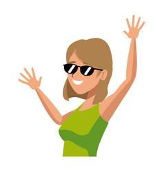 cartoon funny woman tourist happy image vector image