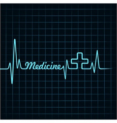 Heartbeat make medicine word and plus symbol vector image