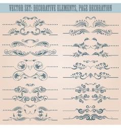 set floral decorative elements vector image