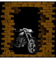 chopper motorbike in breaking the brick wall vector image vector image