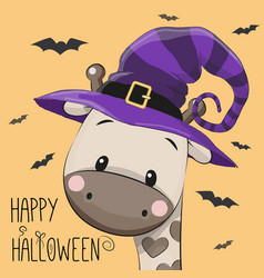 halloween of cartoon giraffe vector image vector image