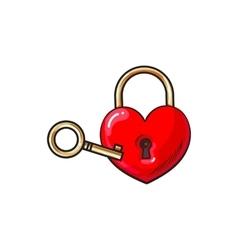 Heart shaped padlock and key for love lock unity vector image