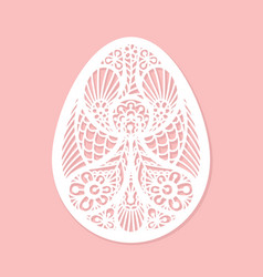 Lacy easter egg art on pink background vector