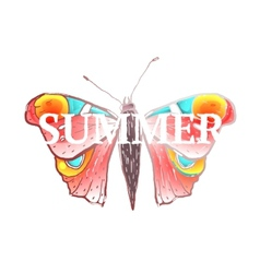 Red Colorful Butterfly with Summer Sign vector image vector image
