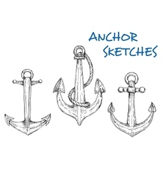 Sketch of vintage nautical anchors with rope vector image vector image