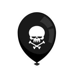 black balloon mourning isolated skull and vector image vector image