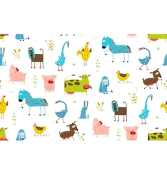 Bright Fun Cartoon Farm Domestic Animals Seamless vector image