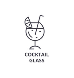 cocktail glass line icon outline sign linear vector image