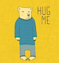 Cute bear hand drawn in vector image vector image