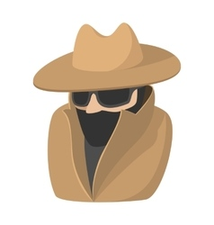 Man in black sunglasses and brown hat cartoon icon vector image vector image