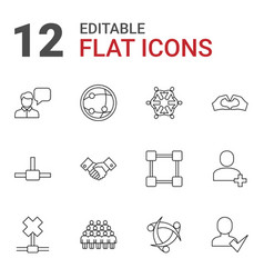 12 friendship icons vector image