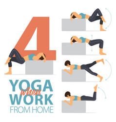 4 yoga poses for easy yoga at home concept vector