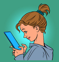 A young woman with smartphone reading messages vector