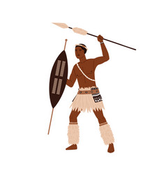 African tribal man holding spear and shield in vector