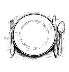 Artistic or drawing of empty plate knife and fork vector