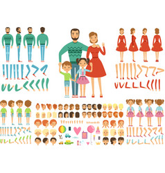 Big happy family mother father and childrens vector