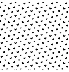 Black doodle hearts seamless pattern backgroun vector image