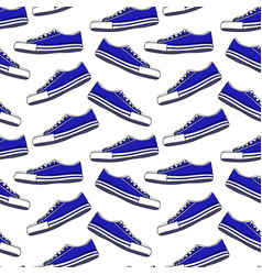 Blue textile youth sneakers with white laces vector