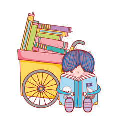 Boy sitting reading book pirates and handcart with vector