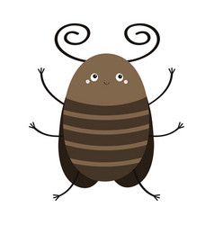 bug beetle icon cute insect with horn wings vector image