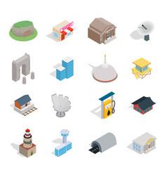 building icon set isometric style vector image