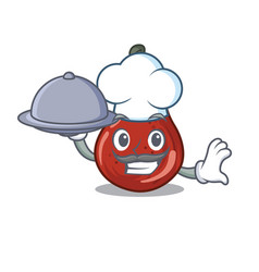 Chef with food red pears isolated in mascot vector